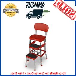 Cosco Red Retro Counter Chair Step Stool Folding Kitchen Fur