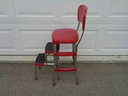 Cosco Red Retro Counter Chair Step Stool Folding Bar Home or