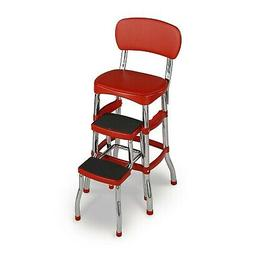 Red Retro Step Stool Counter Chair Padded Vintage Style Kitc
