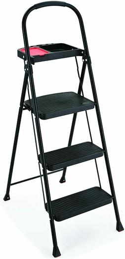 Rubbermaid RMS-3T 3-Step Steel Step Stool with Project Tray,