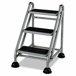 Cosco Rolling Commercial Step Stool 3-Step 26 3/5 Spread Sil