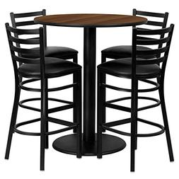 "36"" Round Walnut Laminate Restaurant Bar Table Set with 4 La"