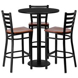 "30"" Sqaure Black Laminate Restaurant Bar Table Set with 3 La"