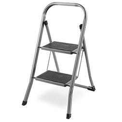 VonHaus Steel 2 Step Ladder Folding Portable Stool with 330l