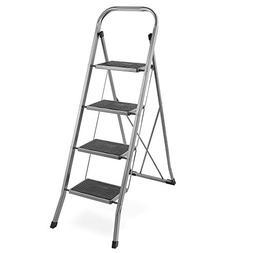 VonHaus Steel 4 Step Ladder Folding Portable Stool with 330l