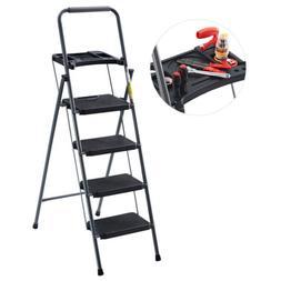 Finether 4-Step Folding Heavy Duty Ladder Non-Slip Platform