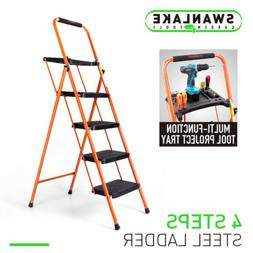 Steel 4 Step Folding Ladder Stool Tool Platform Tray Wide An