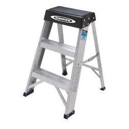 WERNER Step Stool,Aluminum,2 ft. H,300 lb. Cap., 150B, Silve