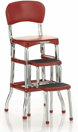 Step Stool Chair Red Retro Counter Padded Style Kitchen Pant