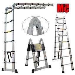 Telescoping Extension Ladder Heavy Duty Aluminum 16.5 Feet M