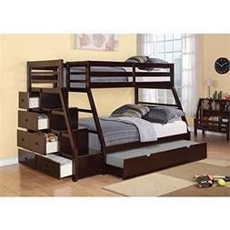 BOWERY HILL Twin Over Full Storage Bunk Bed with Trundle in