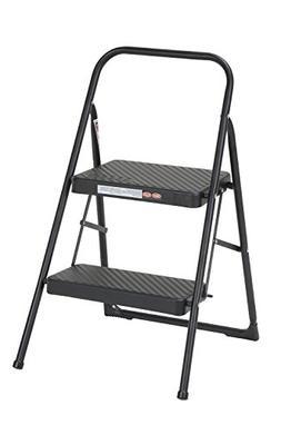Cosco Two Step Household Folding Step Stool Premium Black Ve