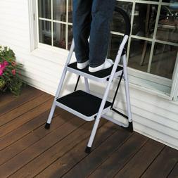 2 step ladder folding step stool steel