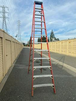 Used 12 foot fiberglass LADDER repaired foot LOCAL PICKUP ON