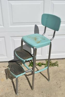 Vintage Cosco Teal Aqua Chrome Kitchen Step Stool Chair Retr