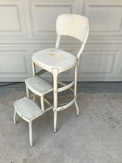 Vintage COSCO Kitchen Step Stool Chair Beige Metal Pull Out