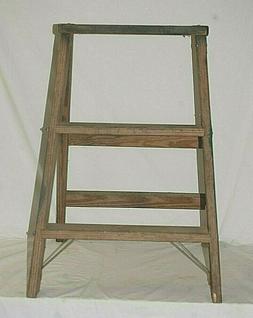 Vintage Primitive Wooden Folding Step Ladder Rustic Country
